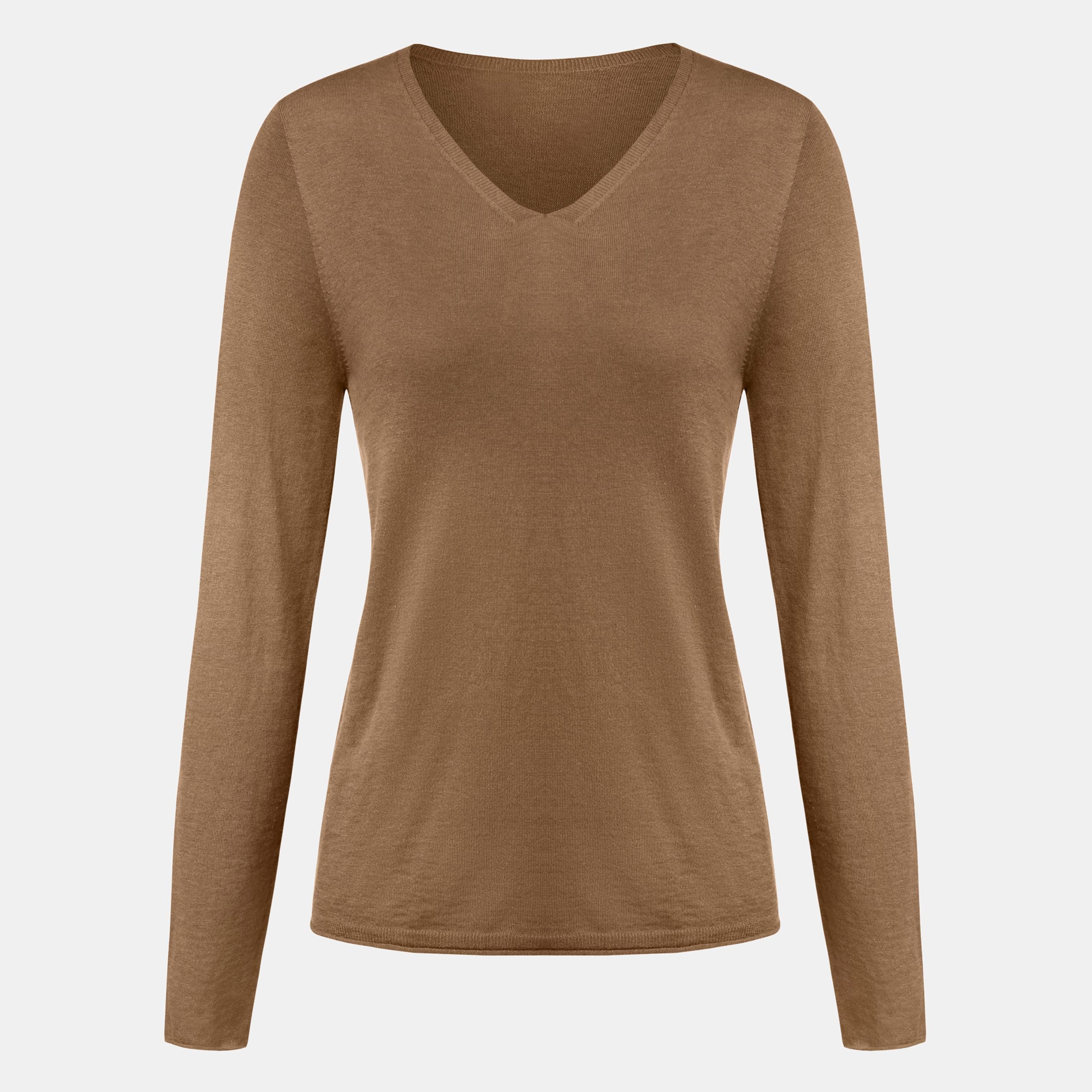 Cashmere V-neck Top-Camel Brown - Camel Brown S