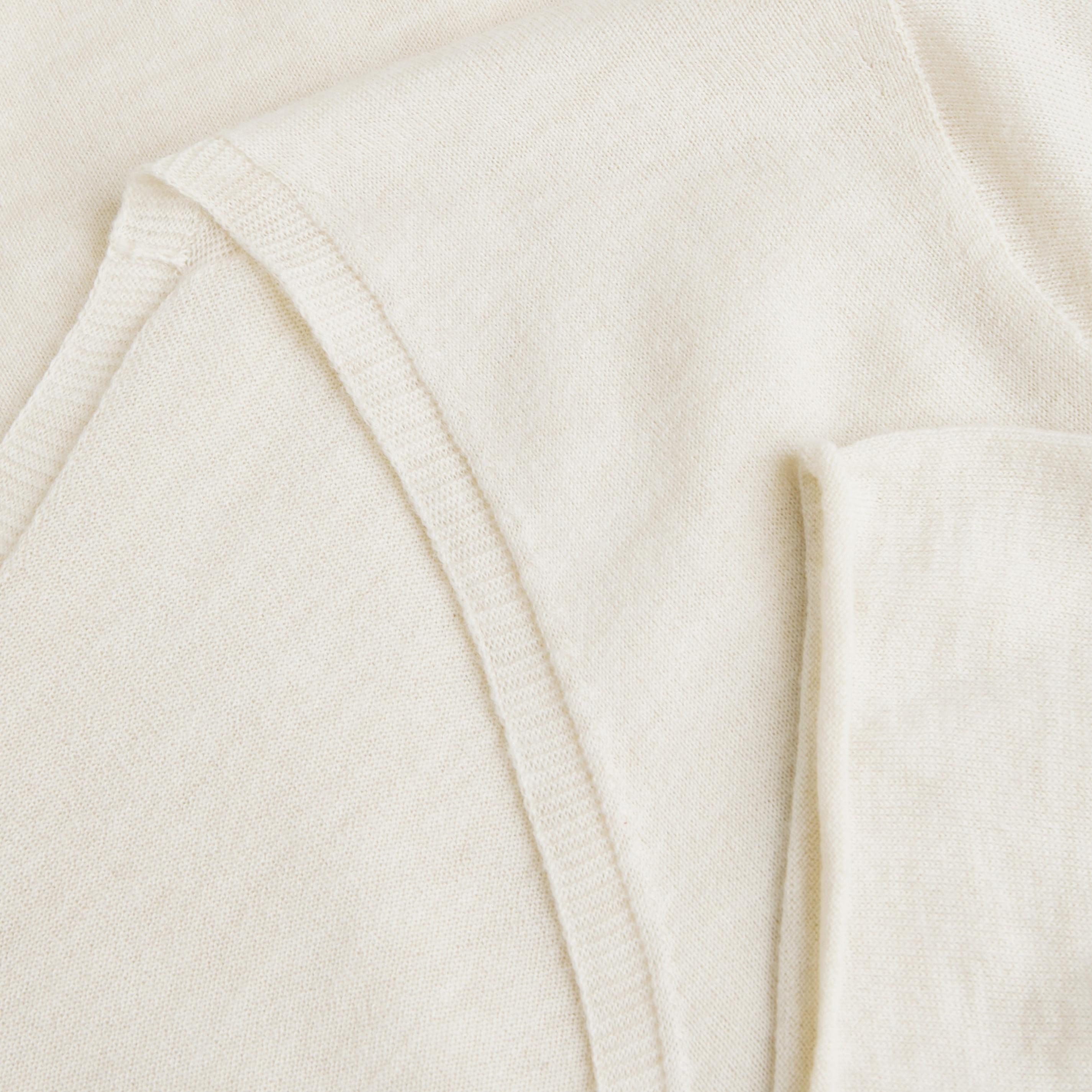 Cashmere V-neck Top-Cream Ivory - Cream Ivory S