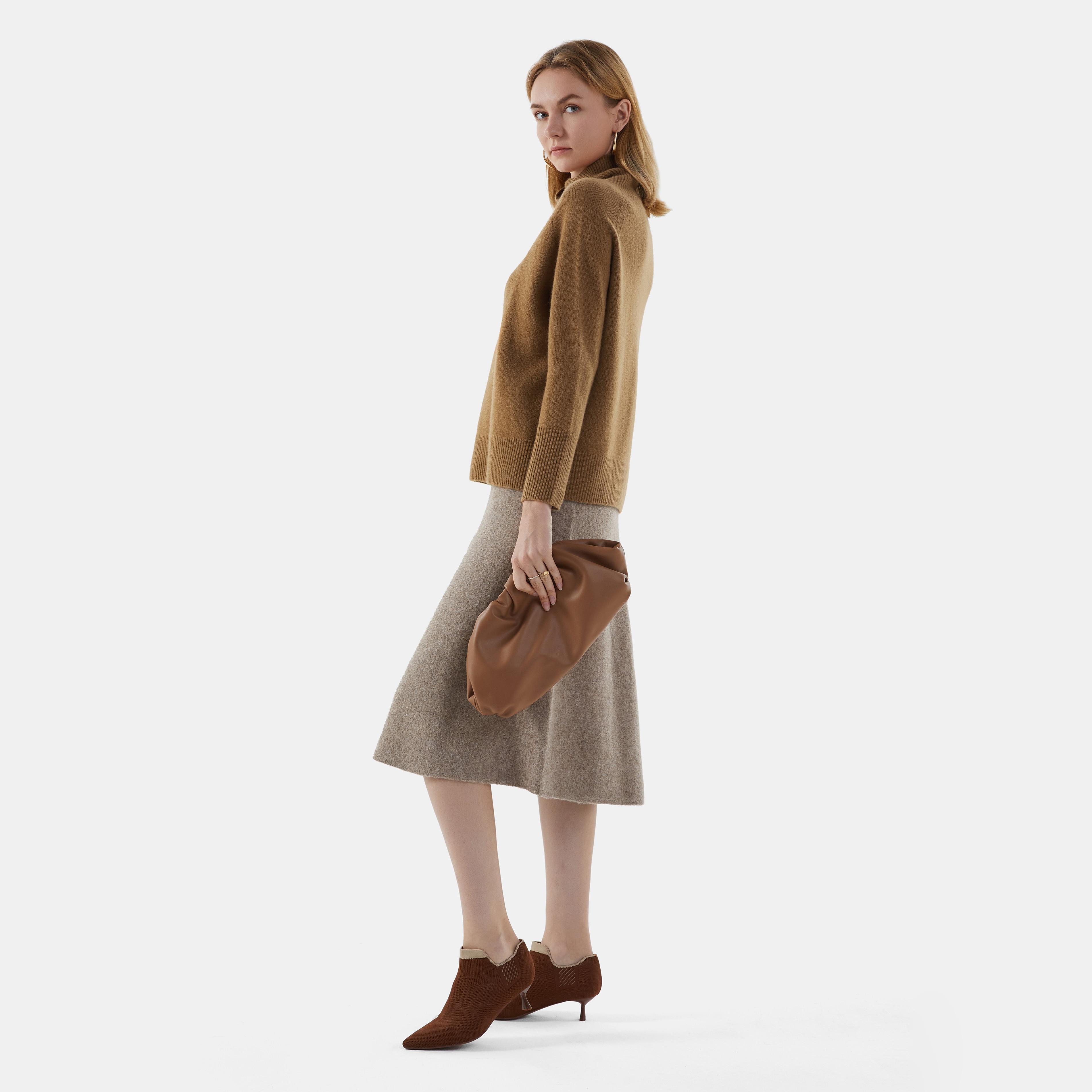Cashmere Turtle Neck Sweater-Caramel Brown - Caramel Brown S