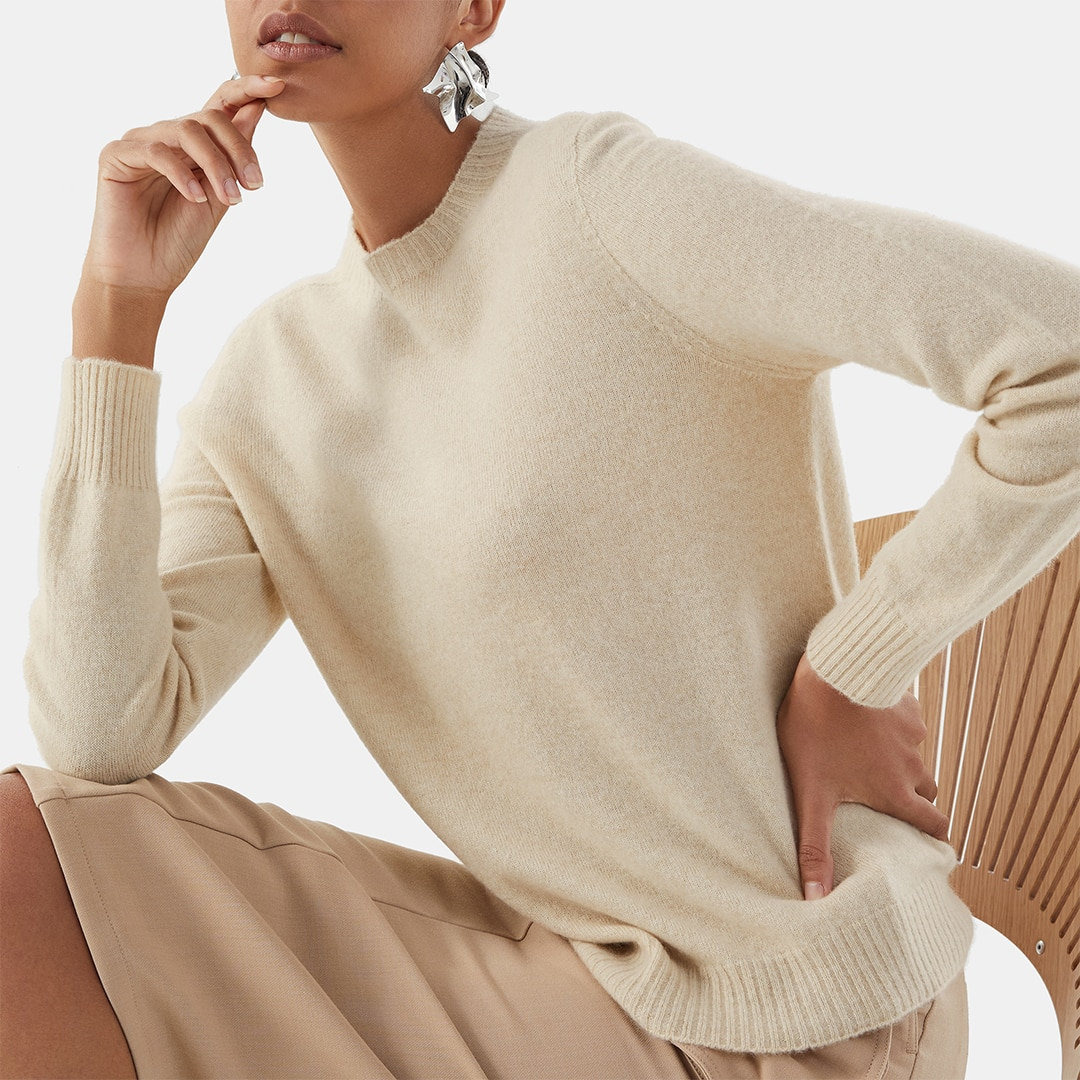 Cashmere Sweater-Cream Ivory - Cream Ivory S
