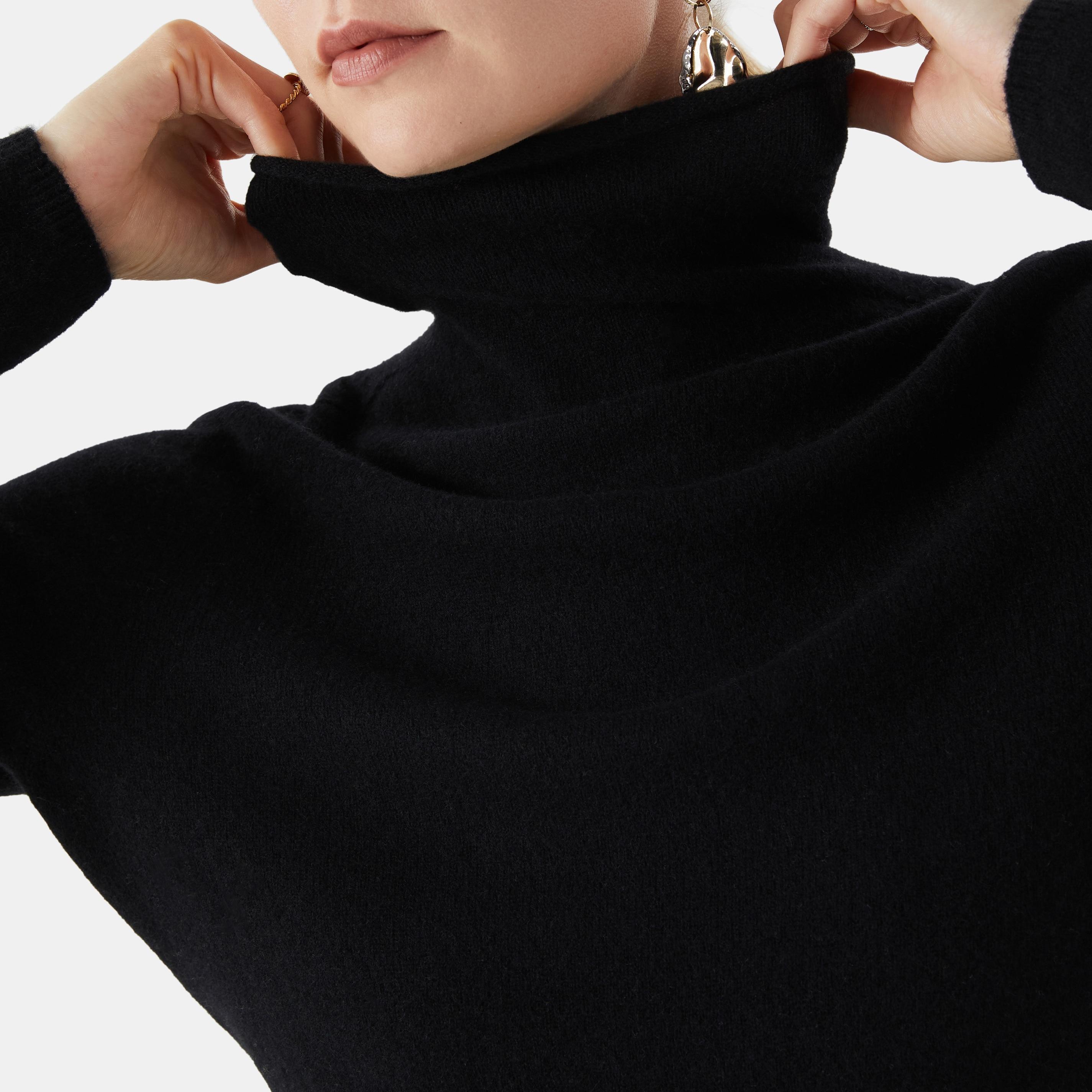 Cashmere Roll Neck Top-Solid Black - Solid Black S