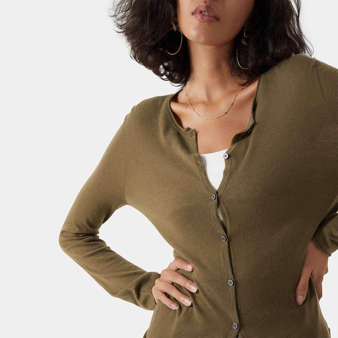 Cashmere Cardigan-Syrup Brown - Syrup Brown S
