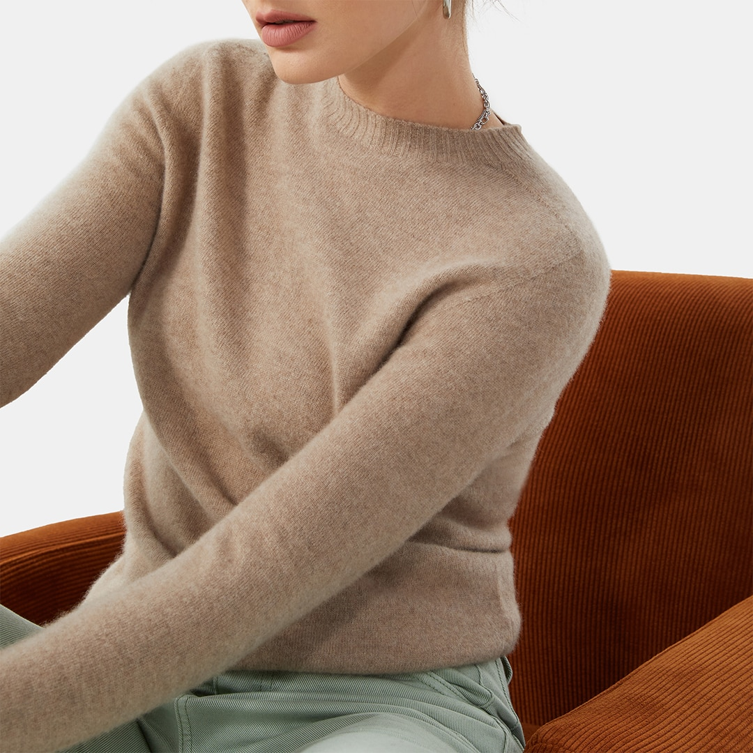 Cashmere Sweater-Camel Brown - Camel Brown L