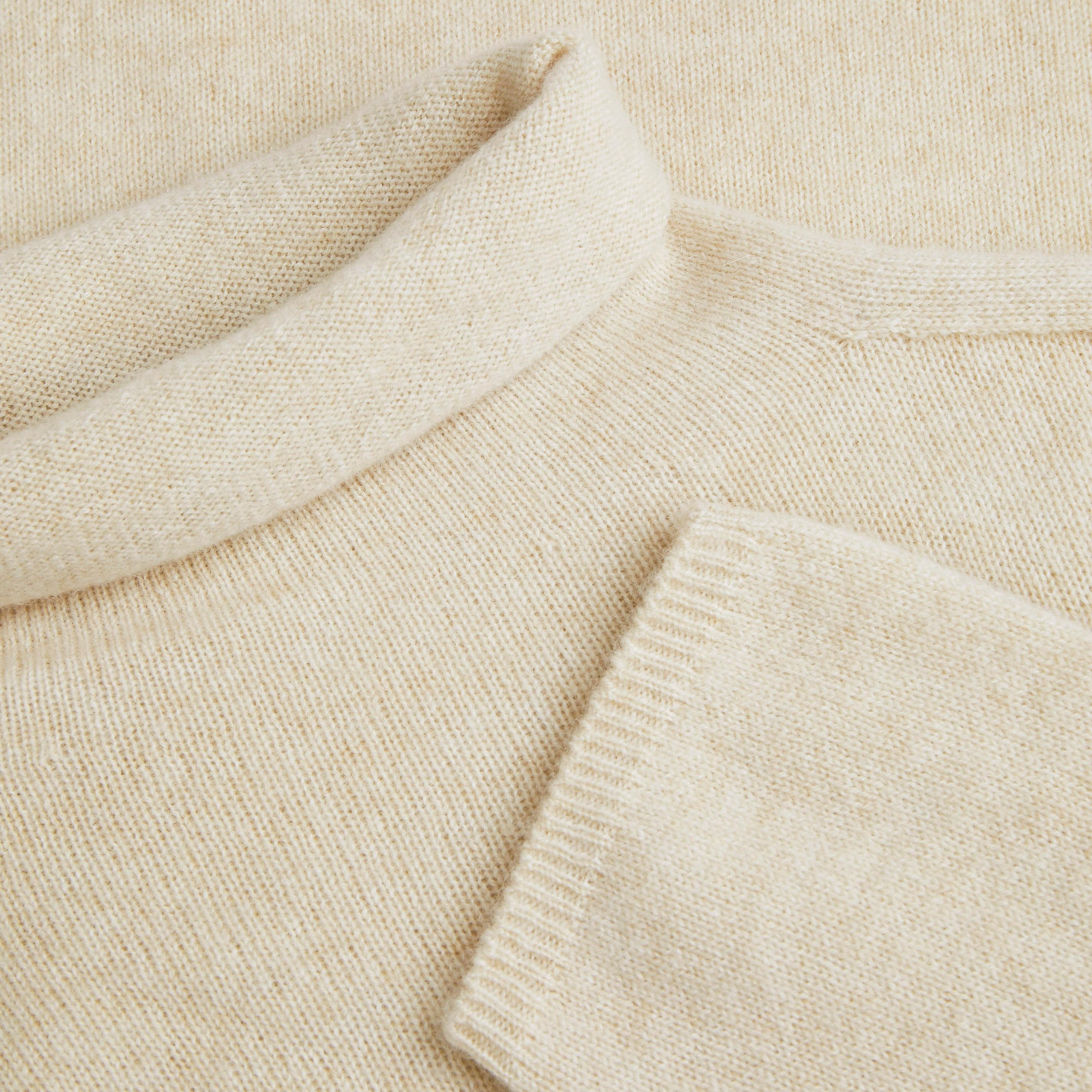 Cashmere Roll Neck Top-Cream Ivory - Cream Ivory S