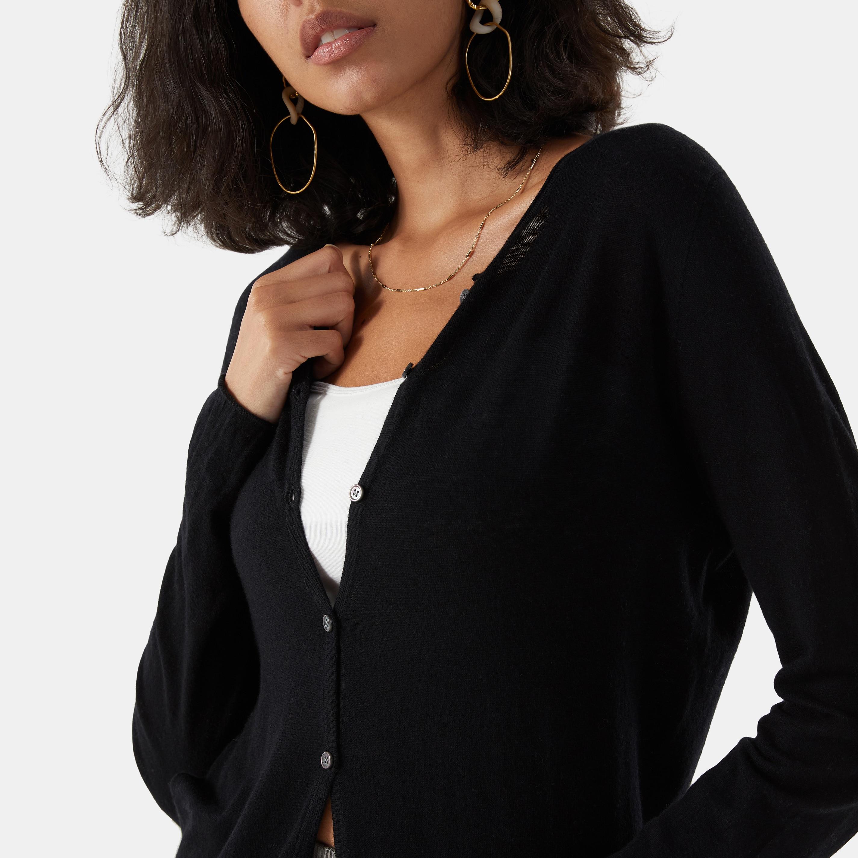 Cashmere Cardigan-Solid Black - Solid Black S