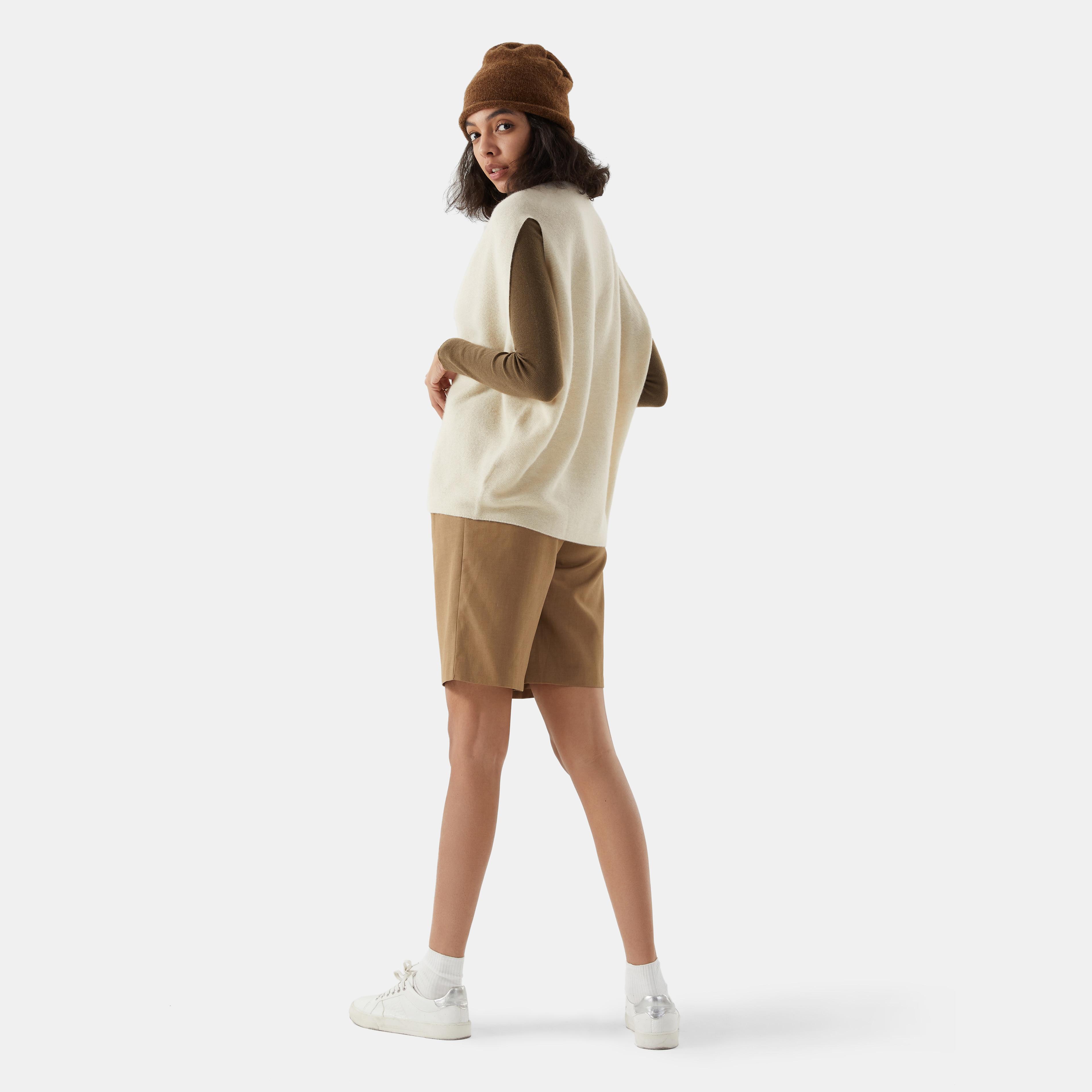 Cashmere V-neck Vest-Cream Ivory - Cream Ivory M